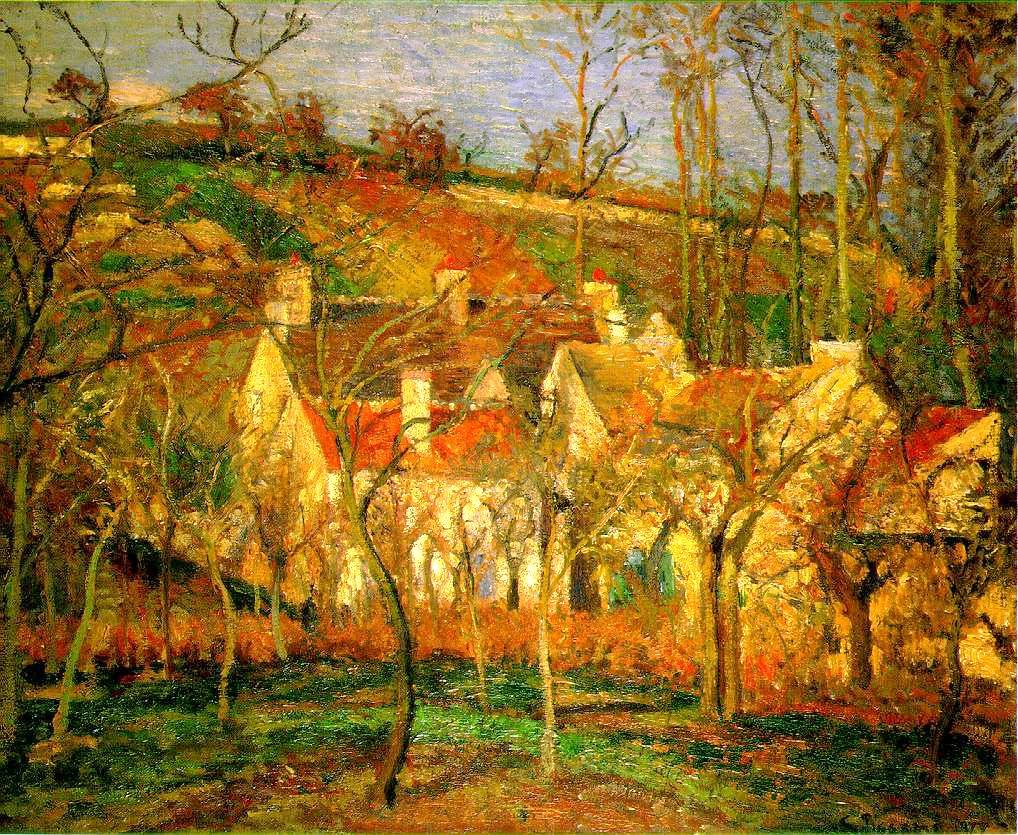 The red roofs by camille pissarro 1877 my daily art for Camille pissarro oeuvre