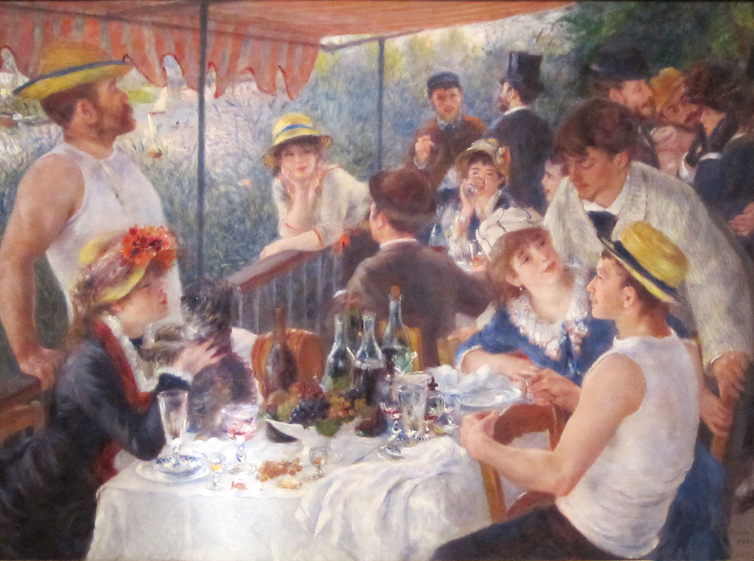 renoirs luncheon of the boating party Art history formal analysis renoir luncheon  to members of the aristocracy) is  apparent in his painting luncheon of the boating party 1881.