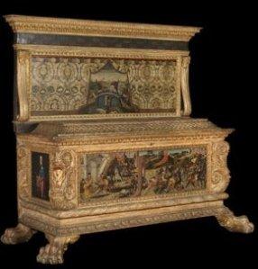 Cassone (chest) with spalliera (backboard)