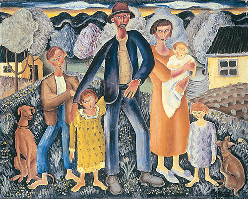 The Rabbiter And His Family By Russell Drysdale My Daily Art Display
