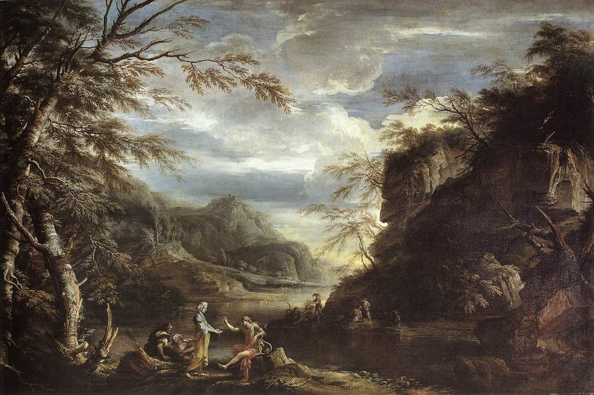 River landscape with apollo and the cumaean sibyl by for Landscape paysage