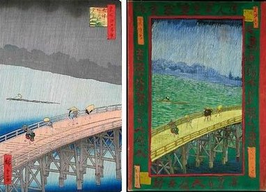 Left: Evening Shower at Atake and the Great Bridge by HiroshigeRight:The Bridge in the Rain (after Hiroshige) by van Gogh