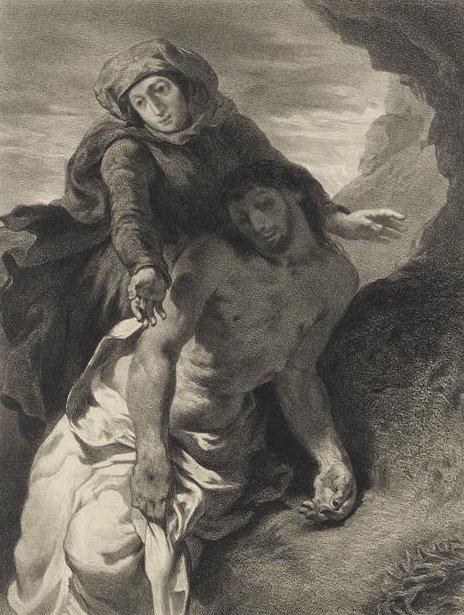 Célestine François Nanteuil-Leboeuf lithograph of Delacroix's  Pietà