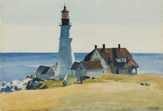 Lighthouse and Buildings, Portland Head, Cape Eizabeth, Maine by Edward Hopper (1927)