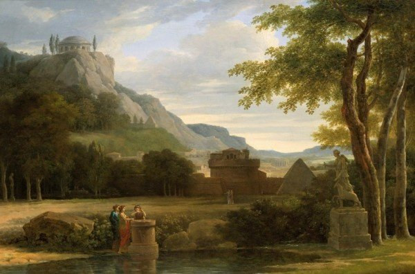 Classical Greek Landscape with Girls Sacrificing Their Hair to Diana on the Bank of a River by Pierre-Henri de Valenciennes (1790)