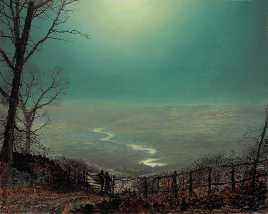 Moonlight, Wharfdale by Atkinson Grimshaw (1865)
