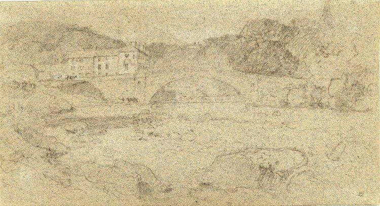 Preliminary sketch of Greta Bridge by John Sell Cotman