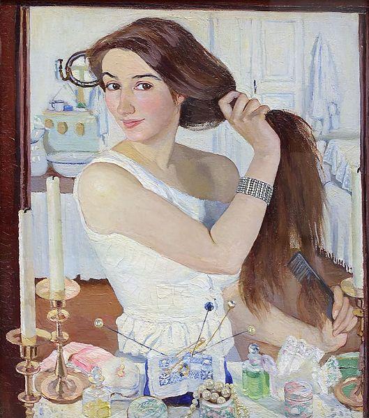 At the Dressing Table (Self Portrait) by Zinaida Serebriakova (1909)