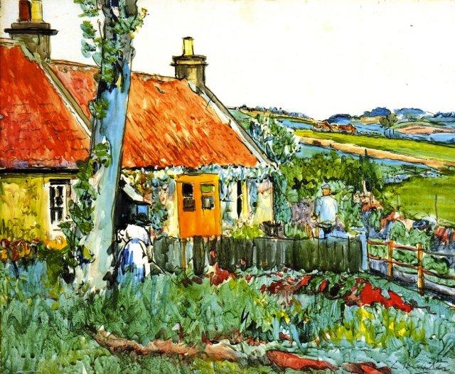 Cottage, near Largo by G.L.Hunter  (c.1920)