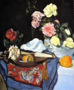 Fruit and Flowers on a Draped Table by G.L.Hunter (1919)