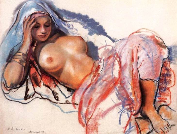 Reclining woman (Etude de femme hadija) Marakech by Zinaida Serebriakova (1932)