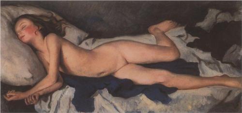 Sleeping Girl in the Blue (Katyusha on a Blanket)by Zinaida Serebriakova (1923)
