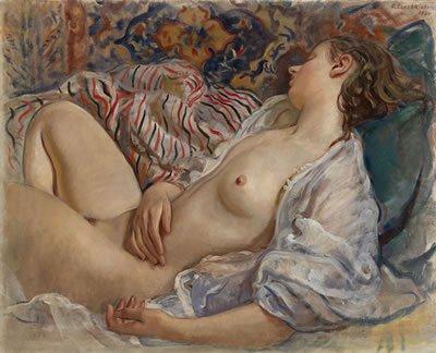 Sleeping Nude (Katya).by Zinaida Serebriakova (1934)