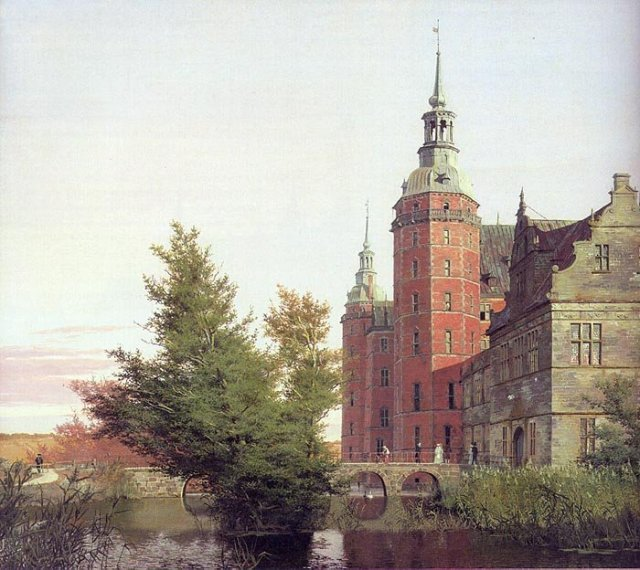 Frederiksborg Castle.  View near the Møntbro Bridge by Christen  Købke (1836)