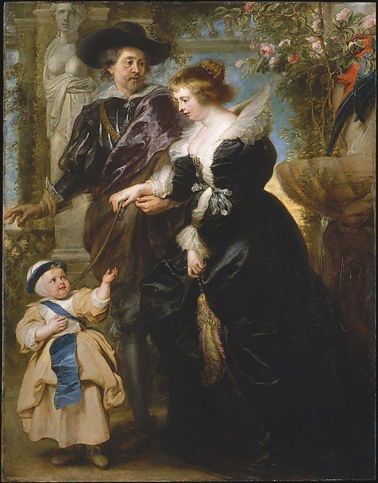 Rubens, His Wife Helena Fourment  and Their Son Frans by Rubens (c.1636)