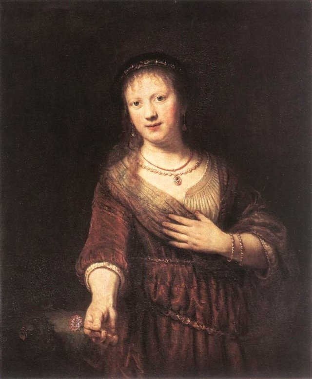 Saskia with a Red Flower by Rembrandt (1641)