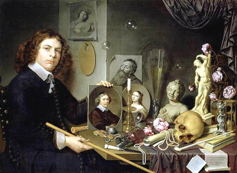 Vanitas Still-life with a Portrait of a Young Painter by David Bailly (1651)