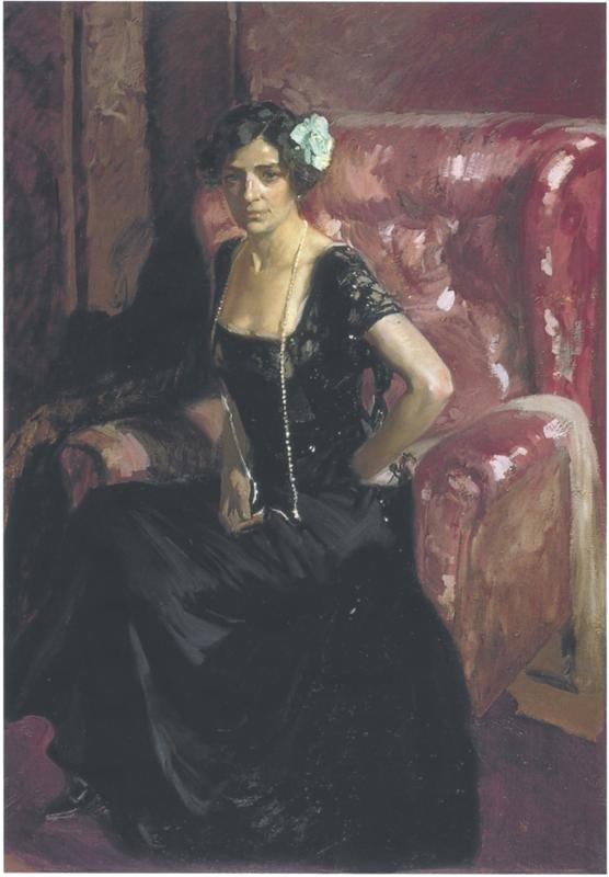 Clotilde in Evening Dress by Joaquín Sorolla (1910)