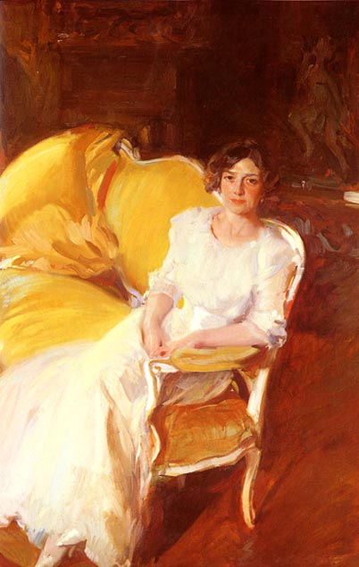 Clotilde Sitting on the Sofa by Joaquín Sorolla (1910)