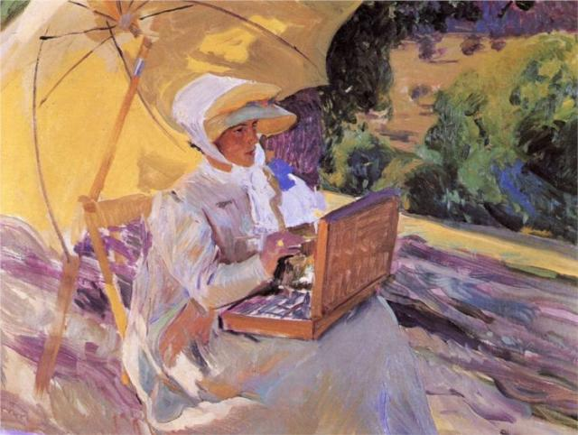 Maria painting in El Pardo by Joaquín Sorolla (1907)