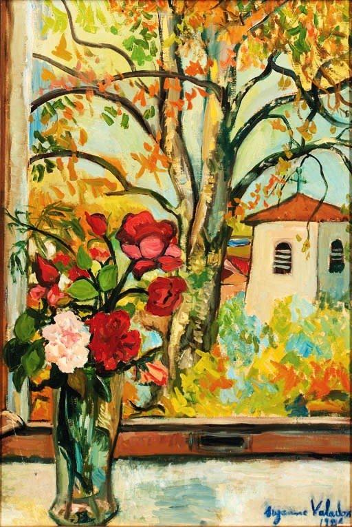 Bouquet de fleurs devant une fenêtre à Saint-Bernard by Suzanne Valadon (1926)