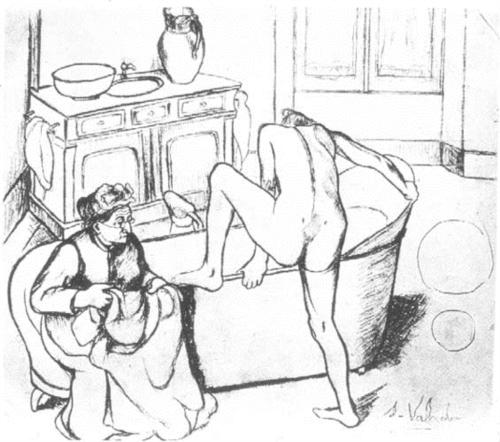Nude getting into the Bath besides the Seated Grandmother by Suzanne Valadon (1903)