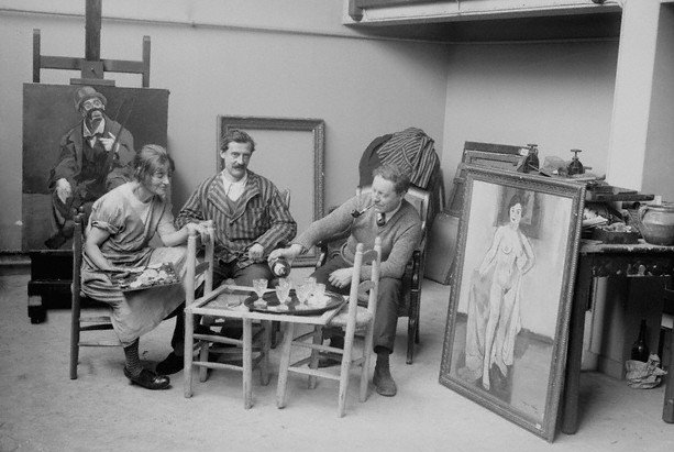 Suzanne, Maurice and André in their studio