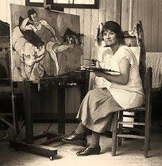 Suzanne Valadon at work in her studio (1926)