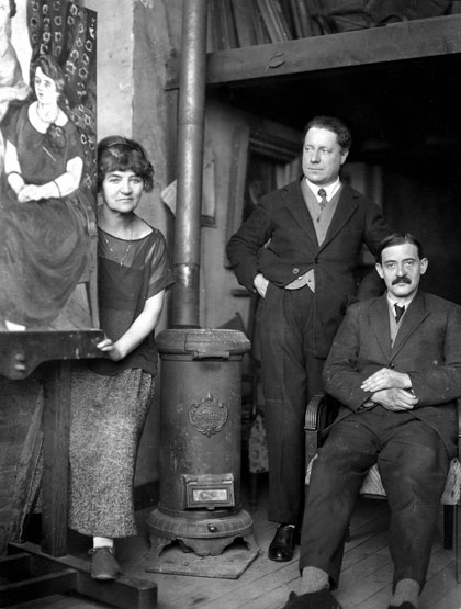 Suzanne Valadon, Her Son Maurice Utrillo (seated, right) and André Utter, (1920)