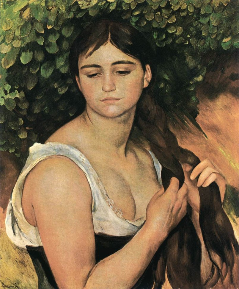 The Ponytail (Suzanne Valadon) by Renoir (1886)