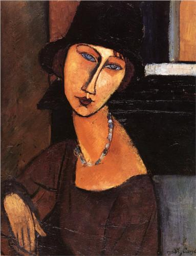 Jeanne Hebuterne with Hat and Necklace by Modigliani (1917)