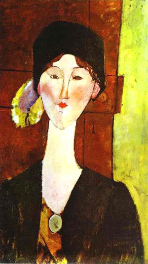Portrait of Beatrice Hastings before a door bny Modigliani (1915)