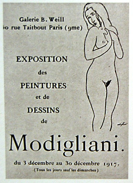 Poster for Berthe Weill's 1917 exhibition of Modigliani's works