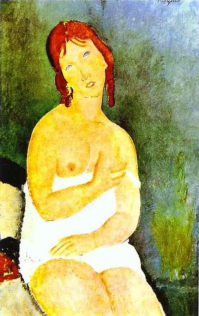 Red-haired Young Woman in Chemise by Modigliani (1918)