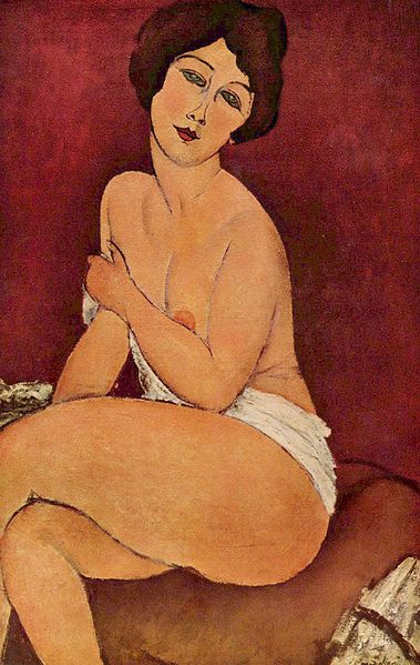 Seated Nude on Divan by Modigliani (1917)