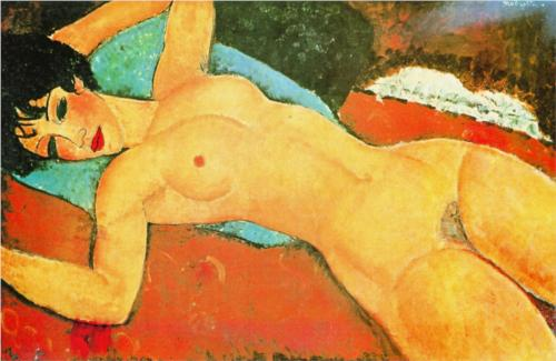 Sleeping Nude with Arms Open (Red Nude) by Modigliani (1917) Gianni Mattioli Collection, Milan