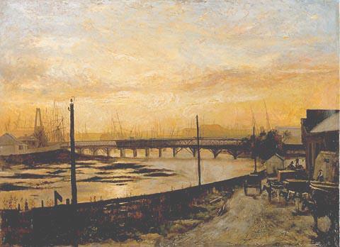 Falls Bridge, Melbourne by Frederic McCubbin (1882)