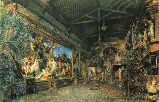 Hans Makart's Studio before the Auction by Rudolf Ritter von Alt (1855)