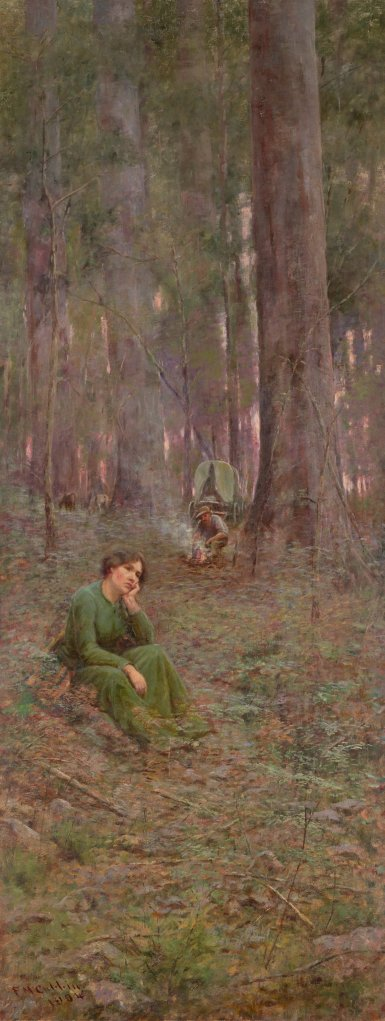 Left-hand panel of The Pioneer by McCubbin