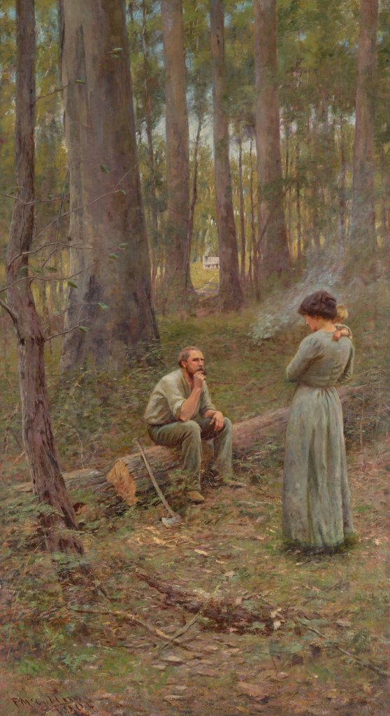 Middle panel of The Pioneer by McCubbin