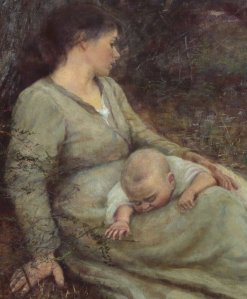 Mother and Son - detail from On the Wallaby Track painting by McCubbin