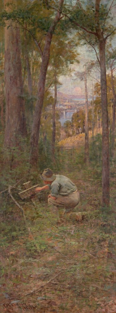 Right-hand panel of The Pioneer by McCubbin