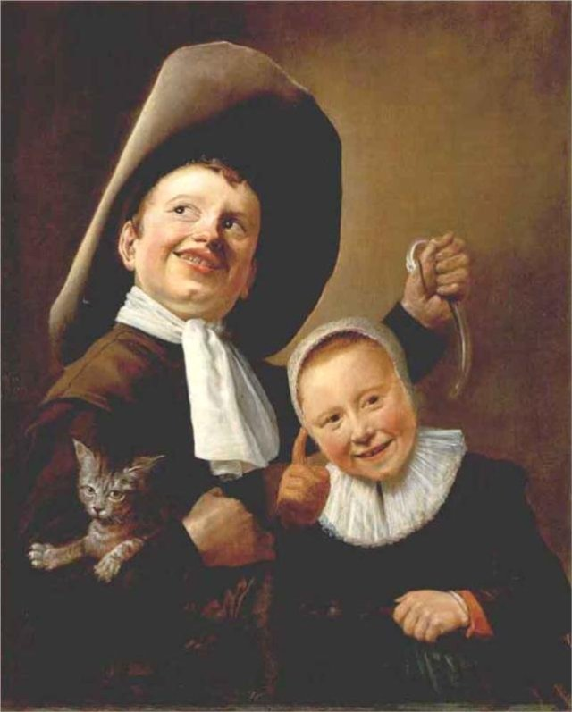 A Boy and a Girl with a Cat and an Eel by Judith Leyster (c.1635)