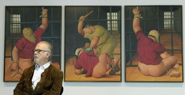 Fernando Botero at an exhibition of his Abu Ghraib paintings in 1957
