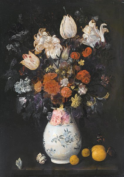 Flowers in a vase by Judith Leyster (1654)