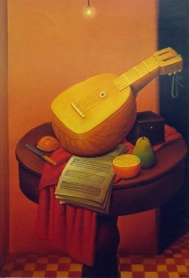 Still life with Mandolin by Fernando Botero (1956)