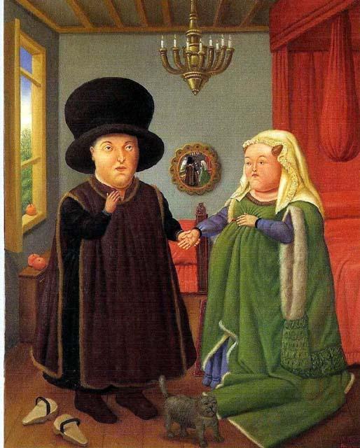 The Arnolfini Portrait by Fernando Botero (1978)