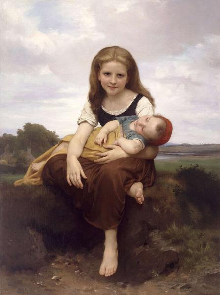 The Elder Sister by William Bouguereau (1869)