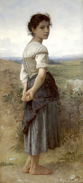 The Young Shepherdess by Bouguereau (1885(
