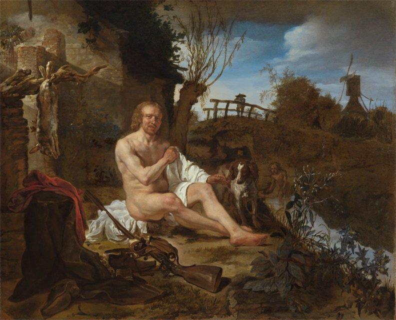 A Hunter Getting Dressed after Bathing by Gabriel Metsu (c.1654)